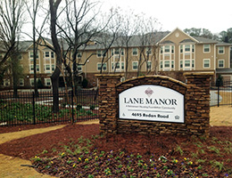 Lane Manor outside signage during the fall