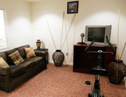 Mabel Meshack tv area with leather couch