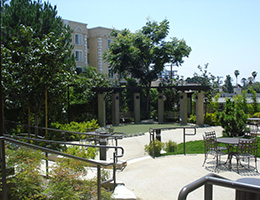 MacArthur outdoor patio tables and walking paths
