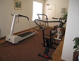 cardio equipment in a gym area