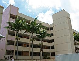 Pauahi Kupuna Hale exterior view of building with Palm Trees
