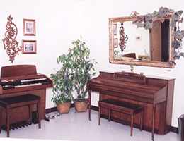 two pianos sitting across from each other with a large ornate mirror hanging above one of them