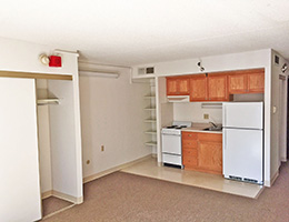Resident studio apartment with kitchenette