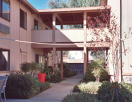 Redding Pilgrim Exterior with adjoining walkway to the next community over