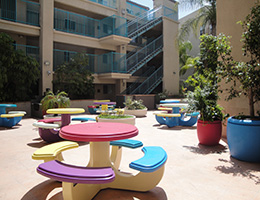Rio Vista colorful outdoor tables
