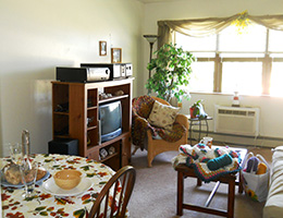 Resident room with TV, dining area and sitting area