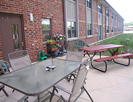 Outside seating area at the back of the building