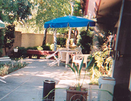 Patio area with seating and plants surrounding it