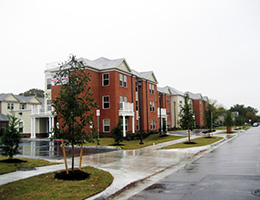 townhome exterior to the facility
