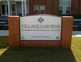 outdoor signage for village gardens