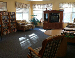 Resident common room with TV, library and seating
