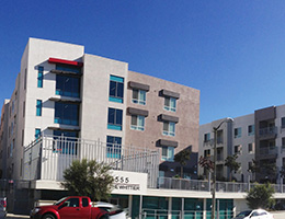 Whittier exterior view and parking lot