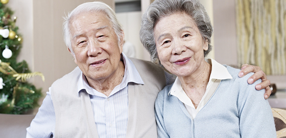elderly couple smiling during christmas