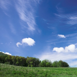 beautiful sky and clouds in a field