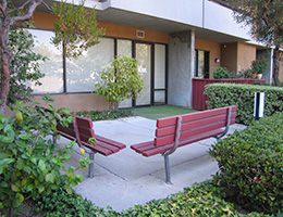 Pilgrim East outdoor seating area with benches