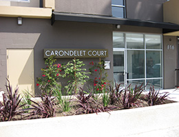 Carondelet Court front entrance with sign