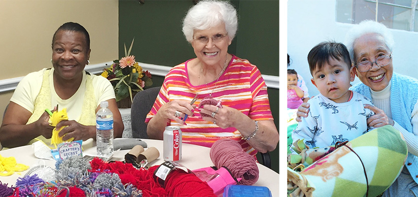 two residents showing off their quiltings. A resident with a young child