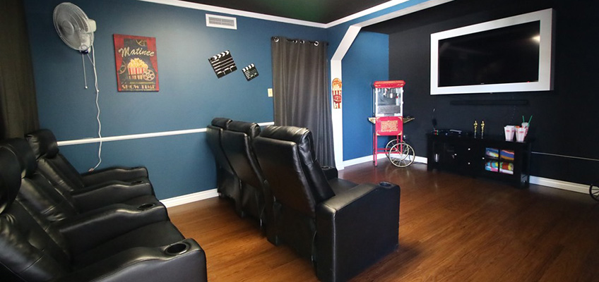 Resident game room with theatre-style seating