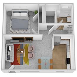 One bedroom floor plan.