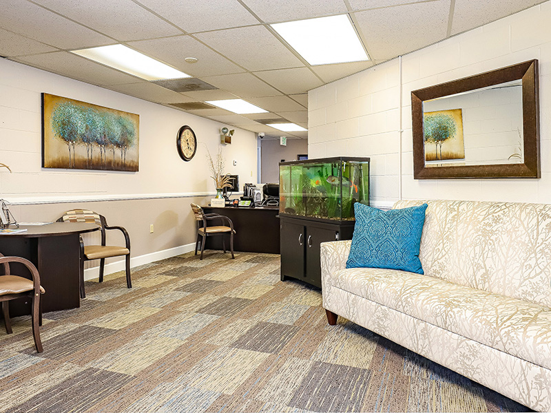 Administrative Office with a fish tank and comfortable seating.