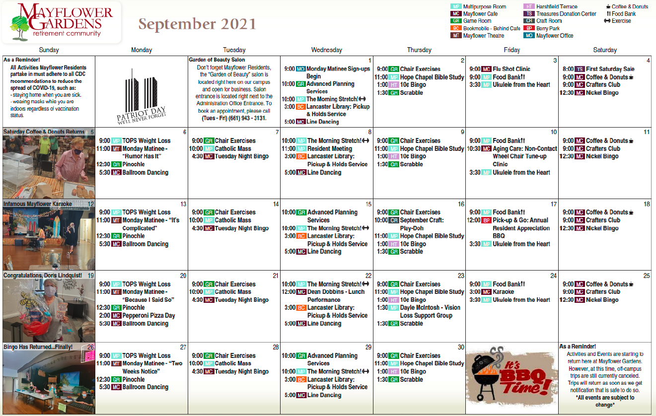 Mayflower Gardens September Calendar
