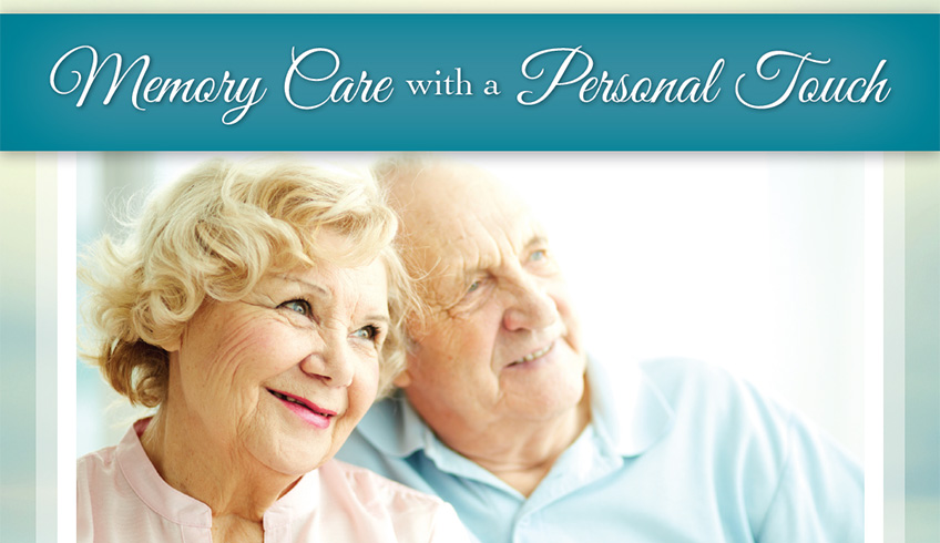 elderly couple smiling, memory care with a personal touch