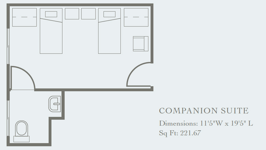 indoor floor plan for a companion suite, 221 sq ft