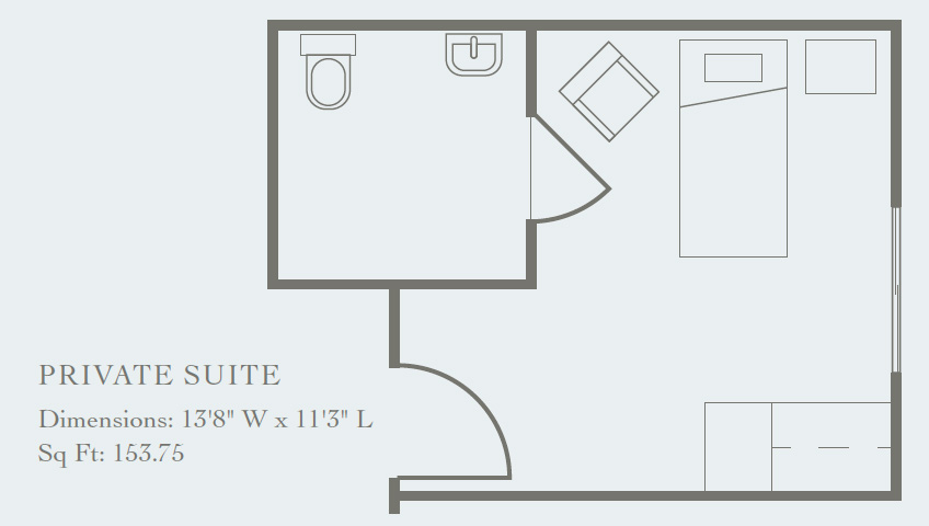 indoor floor plan for a private suite, 153 sq ft