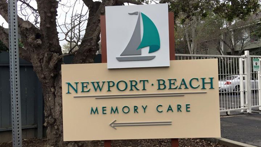 newport beach memory care sign outside