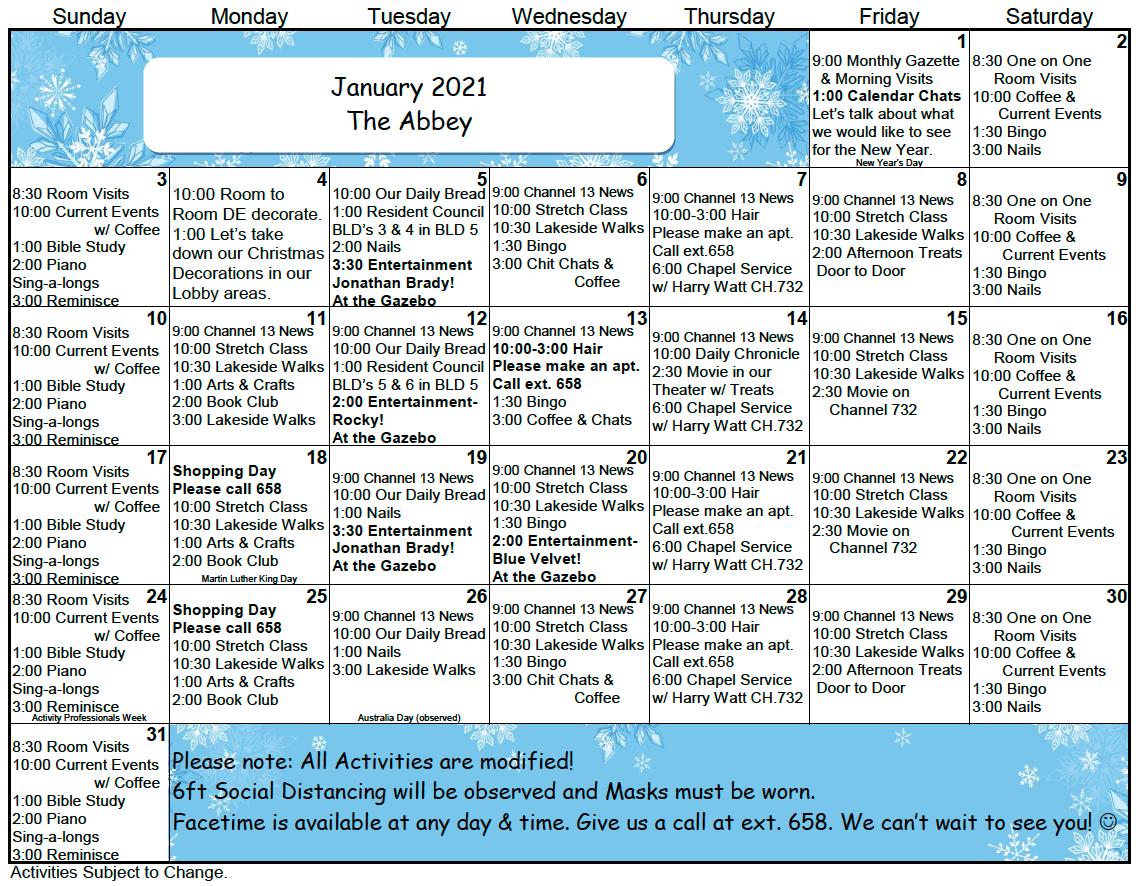 Bishops Glen AL Jan Calendar