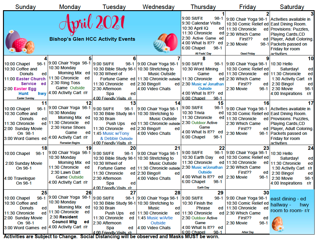 HCC April Calendar