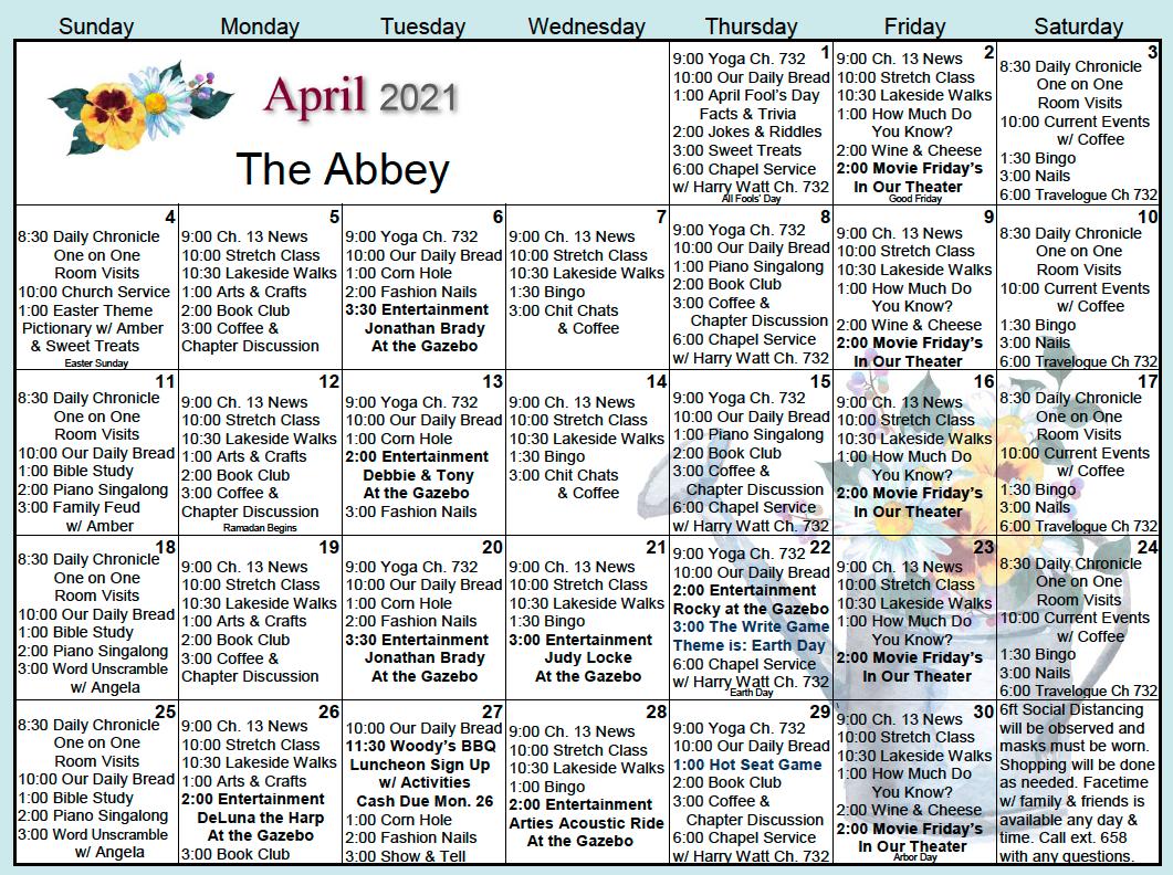 The Abbey April Calendar
