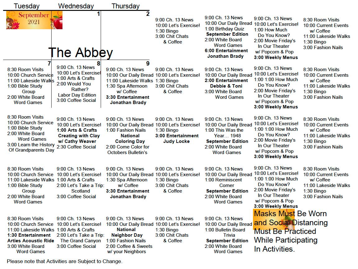 Bishop's Glen AL September Calendar