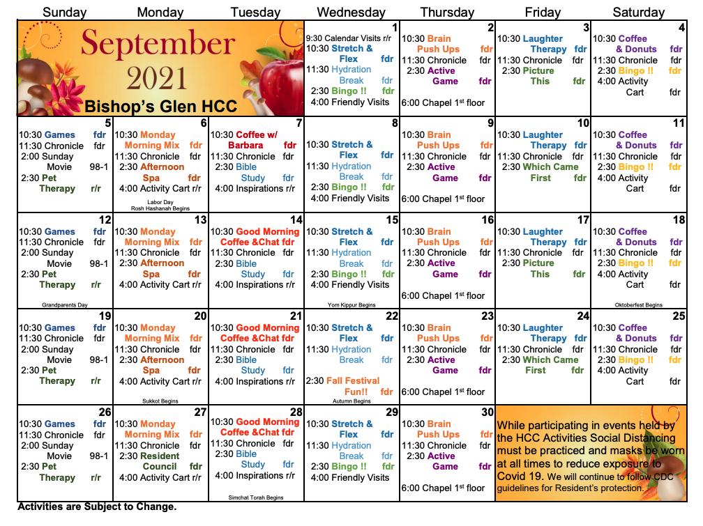 Bishop's Glen Health Center September Calendar