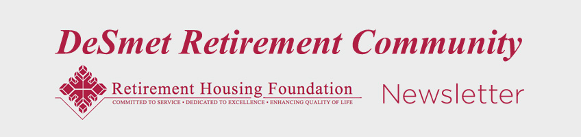 DeSmet Retirement Community monthly newsletter banner