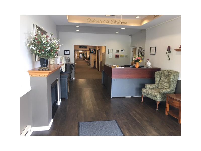 DeSmet Community reception desk and hallway