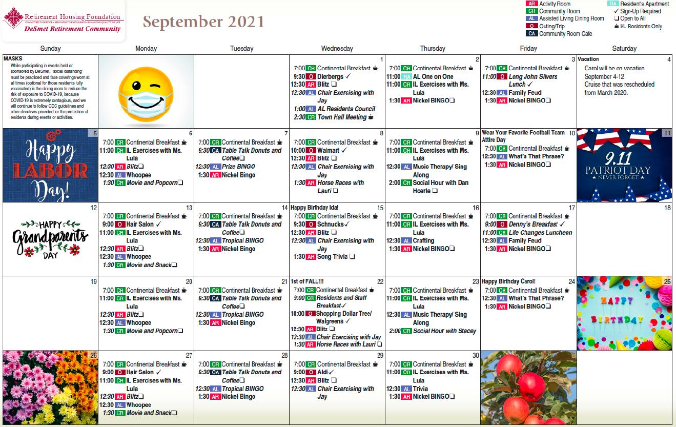 DeSmet September Calendar