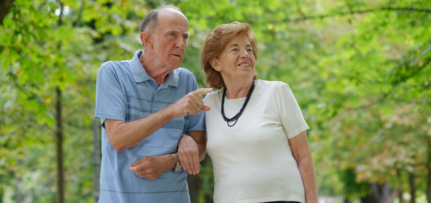 elderly couple outdoors on a walk, the man is pointing something out to the woman