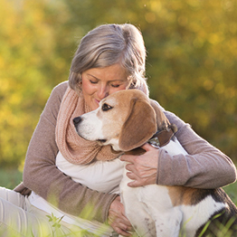 woman sitting in a sunny meadow hugging a dog