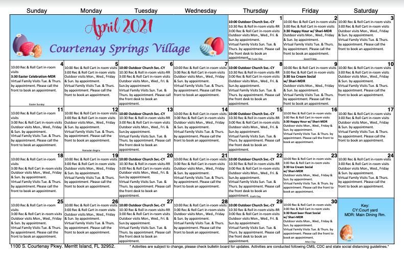 Courtenay Spring SNF April Calendar