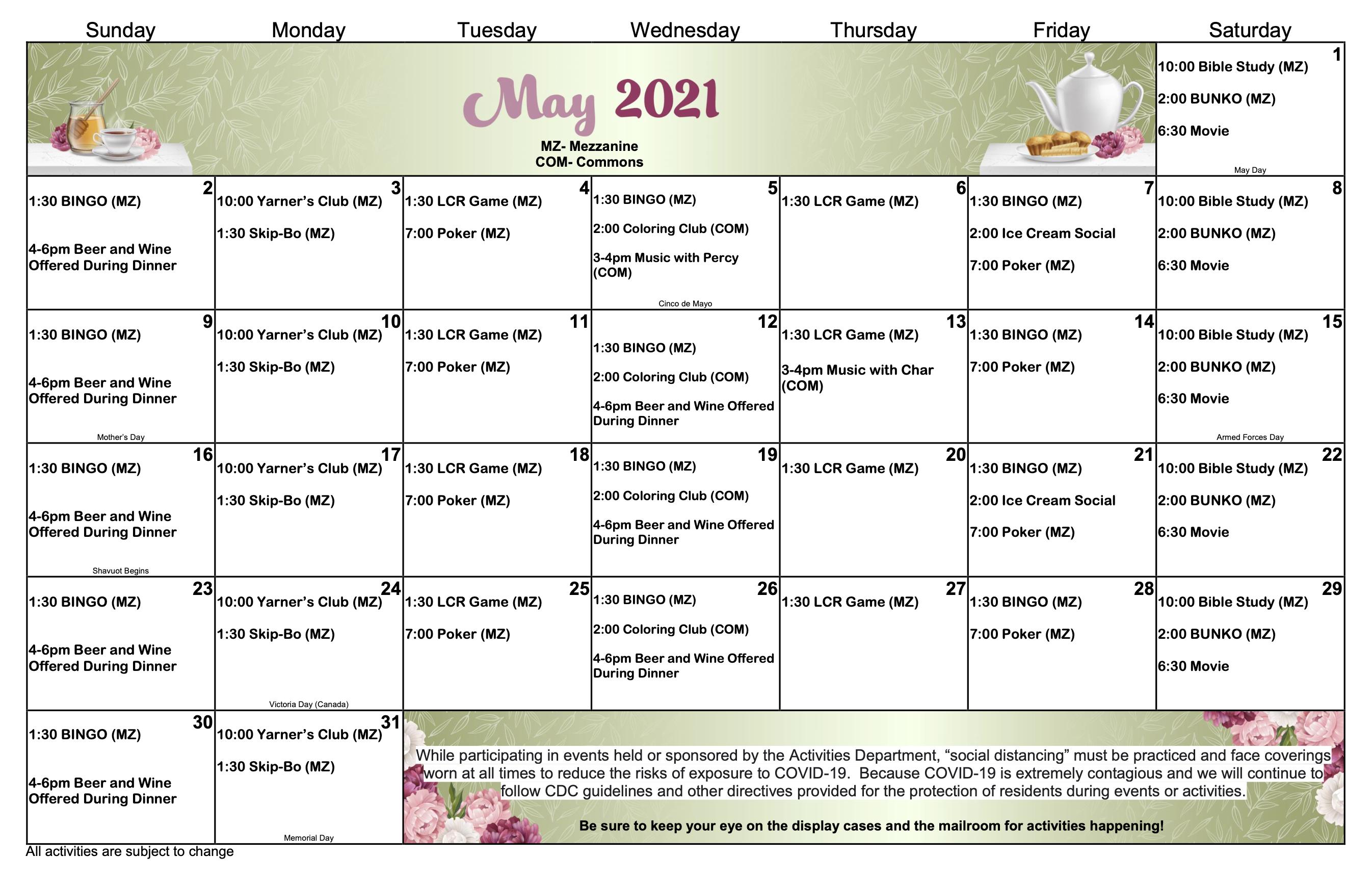 CSV IL May Calendar 2021