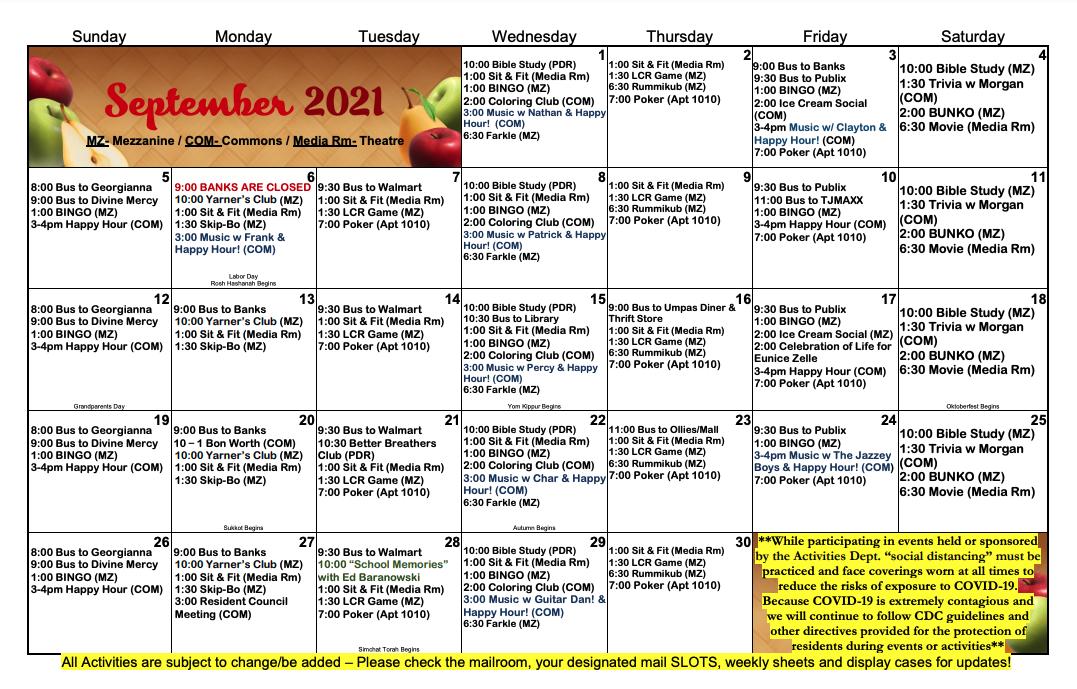 Courtenay Springs Residential September Activity Calendar