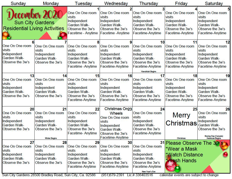 Sun City December Calendar