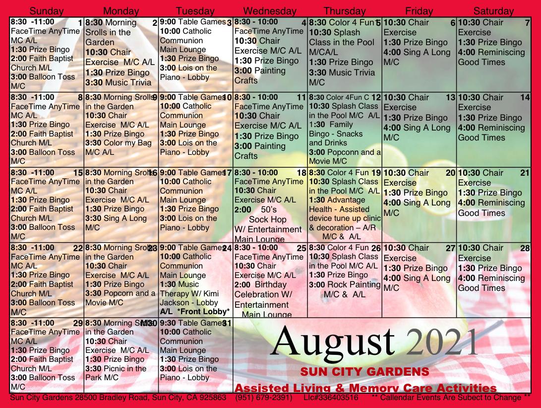 AL And MC Calendar For Sun City Gardens