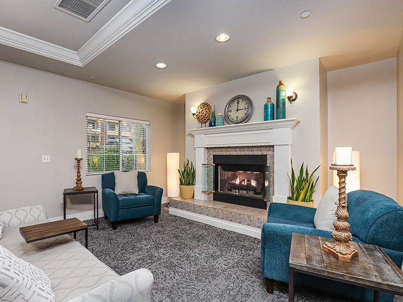 Gateway Gardens living room with fireplace
