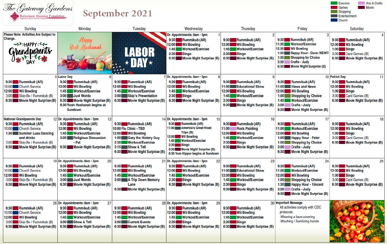 Gateway Gardens September Calendar