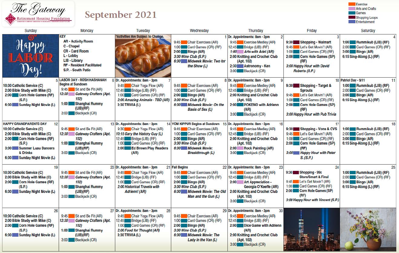 Gateway September Calendar