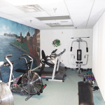 RHF Cloisters exercise room with wall mural
