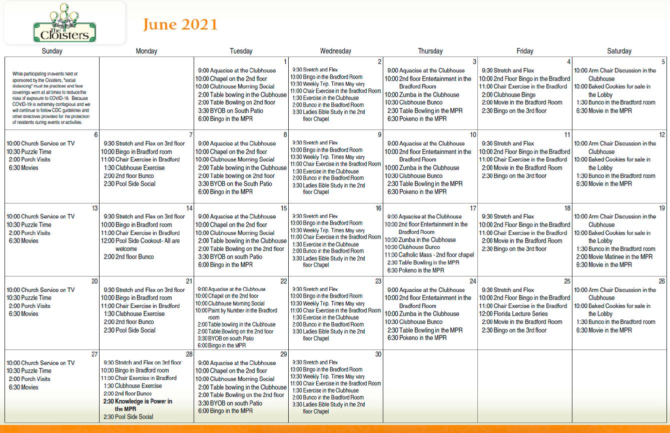 Cloisters June Calendar