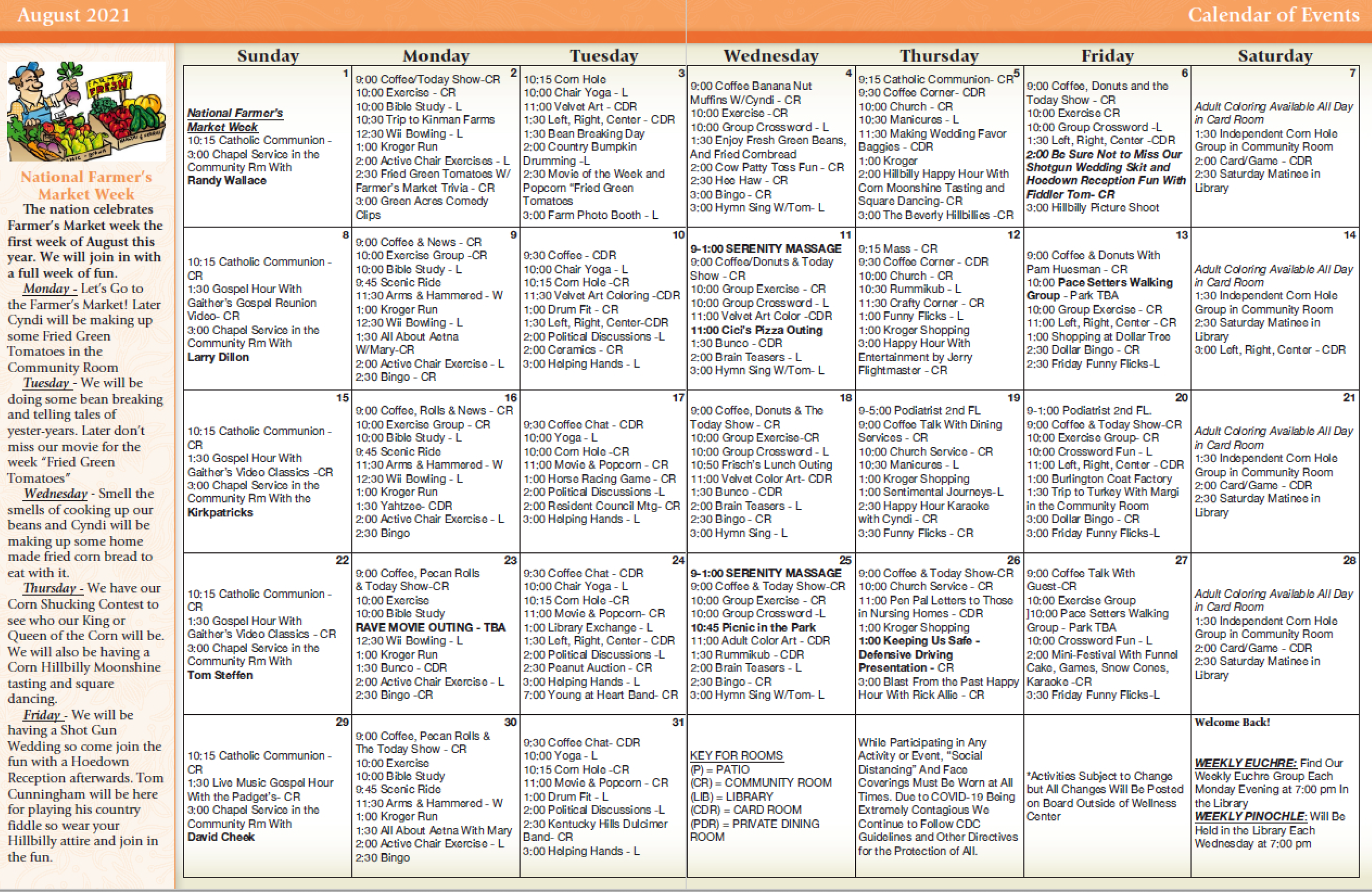 Colonial Heights And Gardens August Calendar